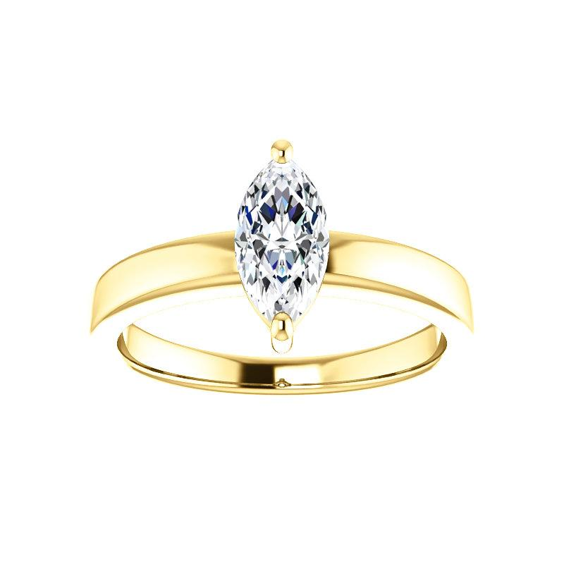 The Jamie Marquise Moissanite Engagement Ring Solitaire Setting Yellow Gold