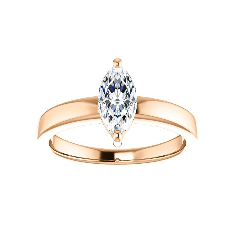 The Jamie Marquise Moissanite Engagement Ring Solitaire Setting Rose Gold