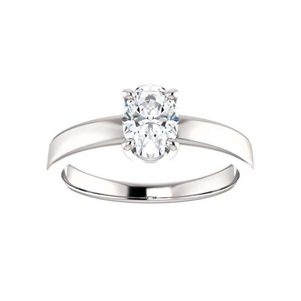 The Jamie Oval Moissanite Engagement Ring Solitaire Setting White Gold