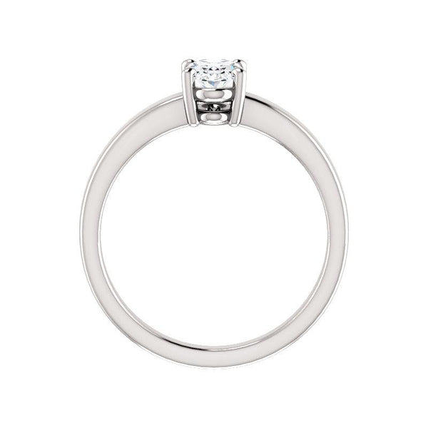 The Jamie Oval Moissanite Engagement Ring Solitaire Setting White Gold Side Profile