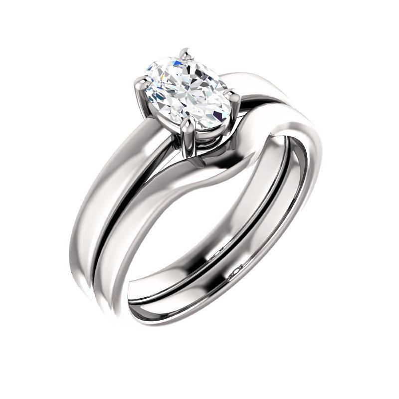 The Jamie Oval Moissanite Engagement Ring Solitaire Setting White Gold With Matching Band