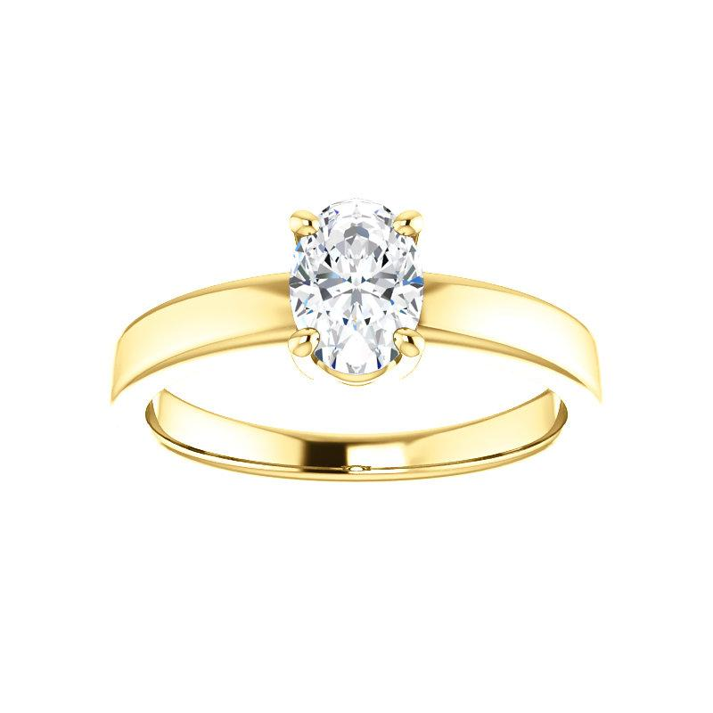 The Jamie Oval Moissanite Engagement Ring Solitaire Setting Yellow Gold