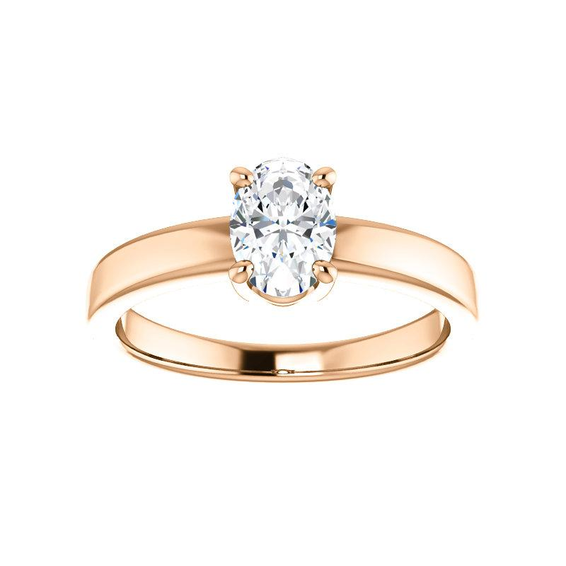The Jamie Oval Moissanite Engagement Ring Solitaire Setting Rose Gold