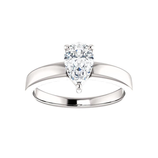 The Jamie Pear Moissanite Engagement Ring Solitaire Setting White Gold
