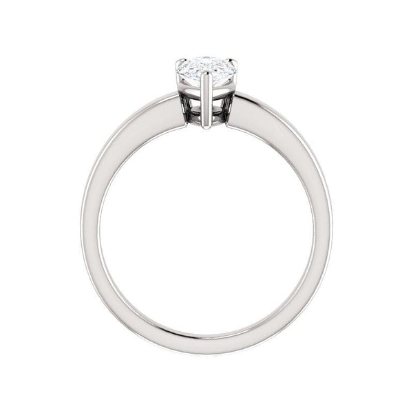 The Jamie Pear Moissanite Engagement Ring Solitaire Setting White Gold Side Profile
