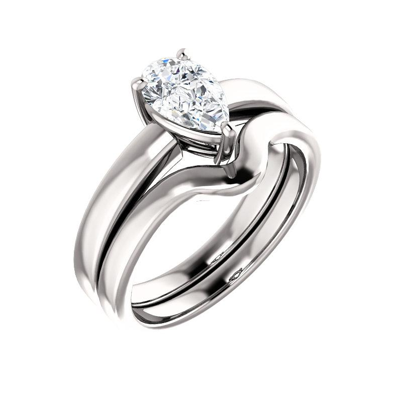 The Jamie Pear Moissanite Engagement Ring Solitaire Setting White Gold With Matching Band