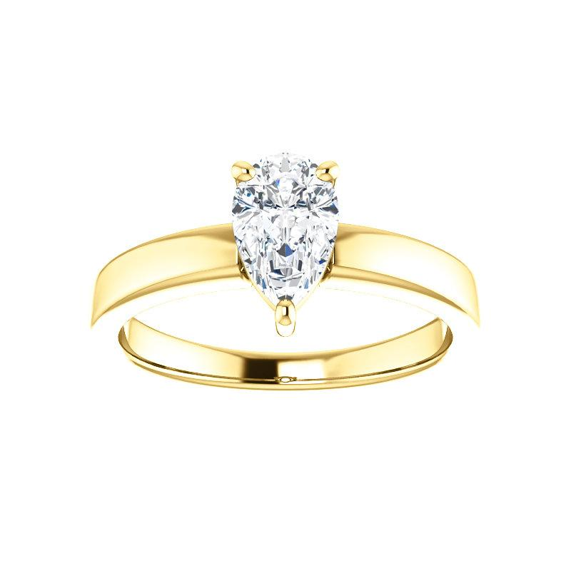 The Jamie Pear Moissanite Engagement Ring Solitaire Setting Yellow Gold