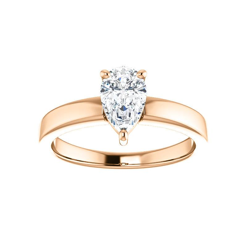 The Jamie Pear Moissanite Engagement Ring Solitaire Setting Rose Gold