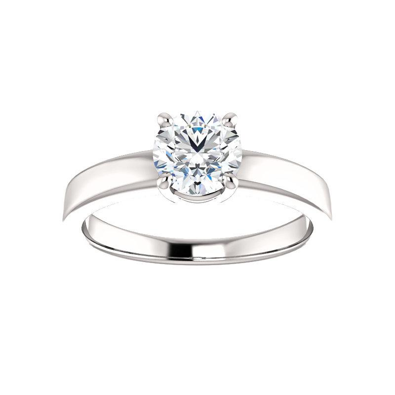 The Jamie Round Moissanite Engagement Ring Solitaire Setting White Gold