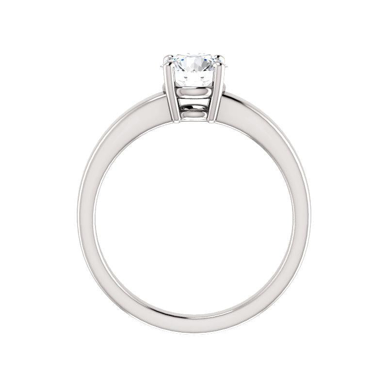 The Jamie Round Moissanite Engagement Ring Solitaire Setting White Gold Side Profile
