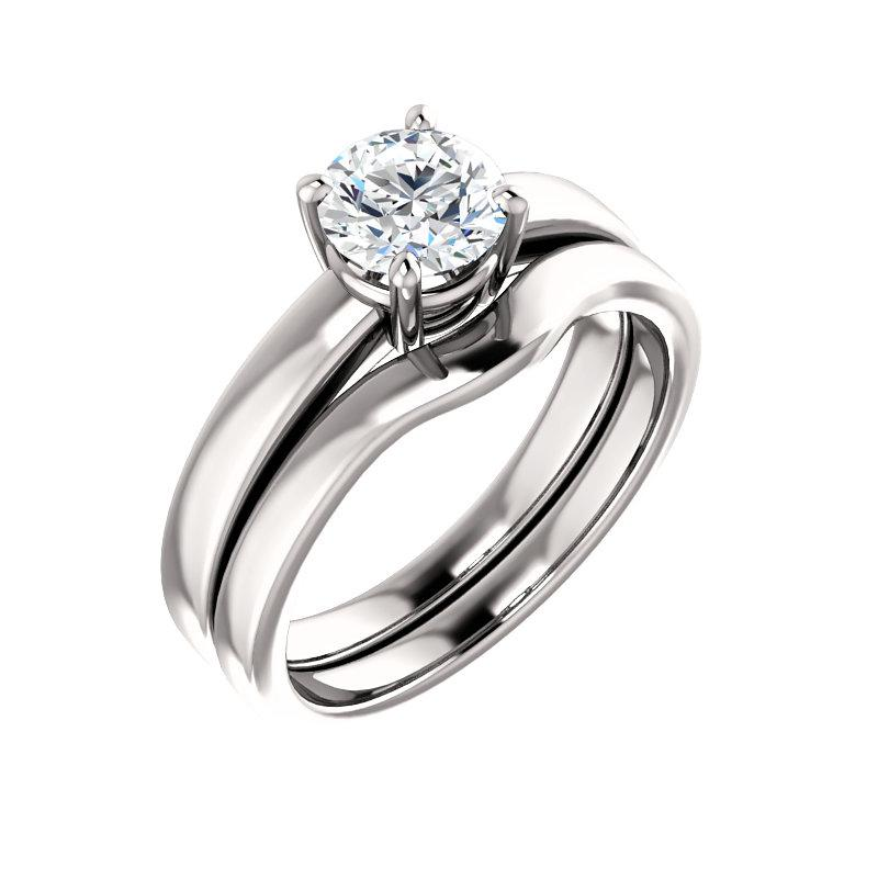 The Jamie Round Moissanite Engagement Ring Solitaire Setting White Gold With Matching Band