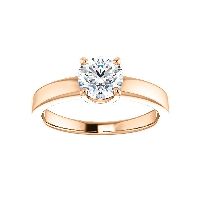 The Jamie Round Moissanite Engagement Ring Solitaire Setting Rose Gold