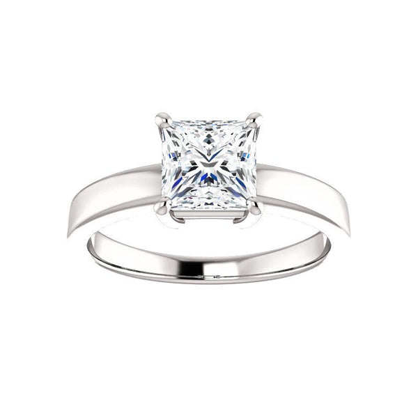 The Jamie Princess Moissanite Engagement Ring Solitaire Setting White Gold