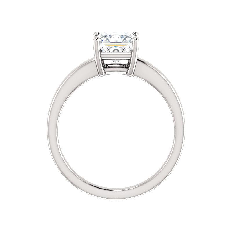The Jamie Princess Moissanite Engagement Ring Solitaire Setting White Gold Side Profile