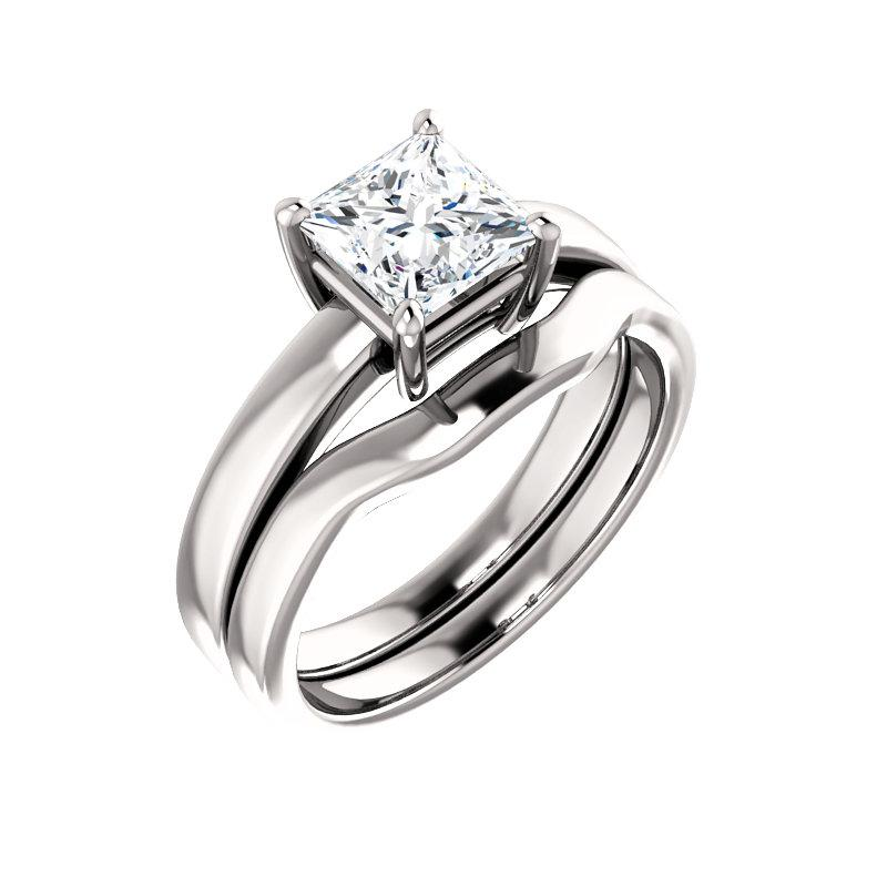 The Jamie Princess Moissanite Engagement Ring Solitaire Setting White Gold With Matching Band