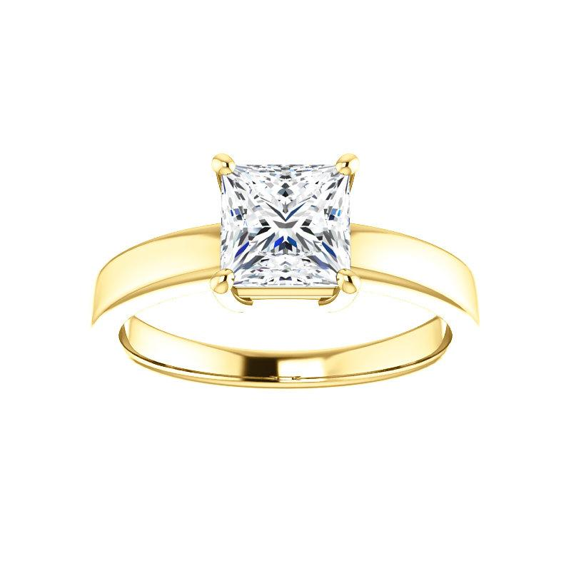 The Jamie Princess Moissanite Engagement Ring Solitaire Setting Yellow Gold