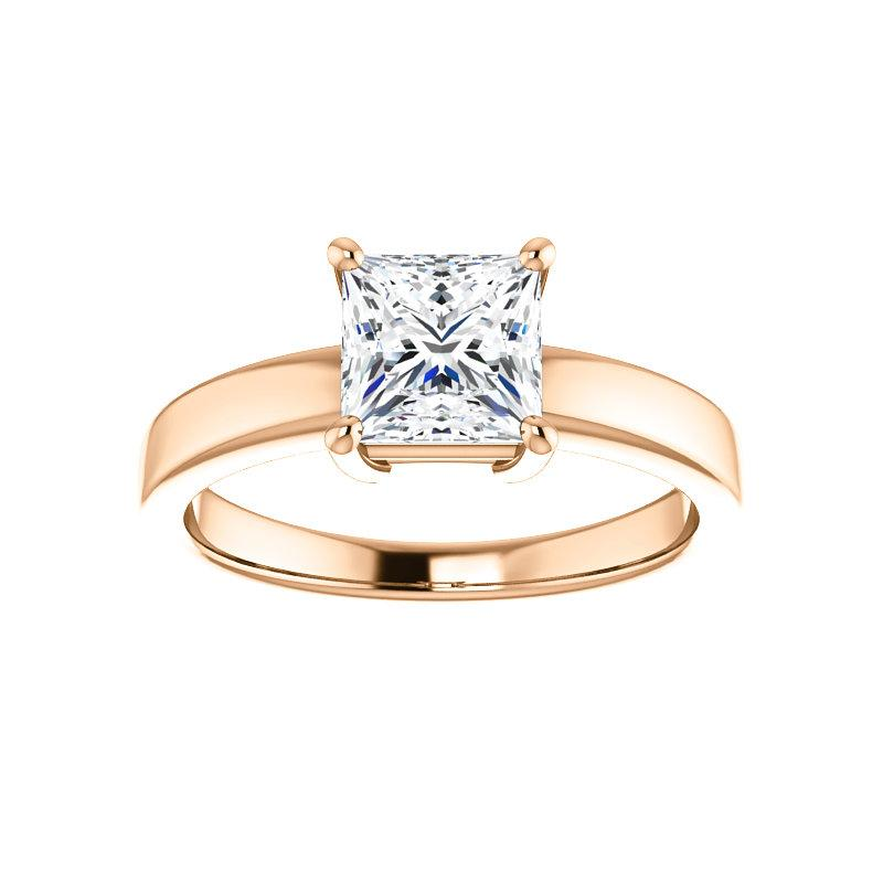 The Jamie Princess Moissanite Engagement Ring Solitaire Setting Rose Gold