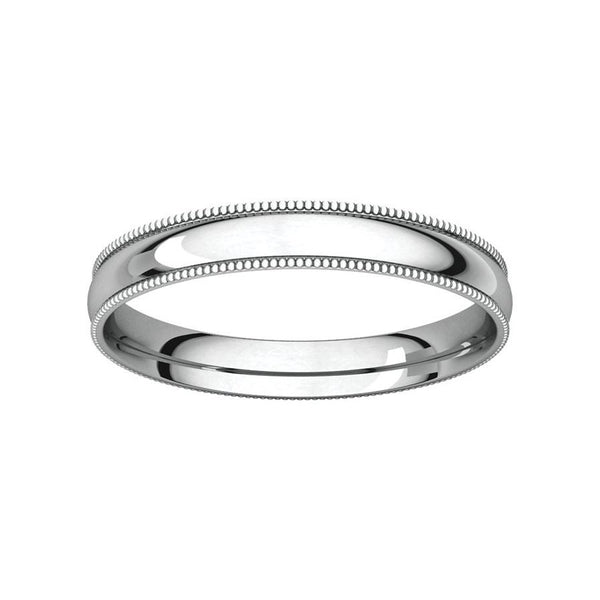 The Milgrain Dome Comfort Fit (3mm) in white gold