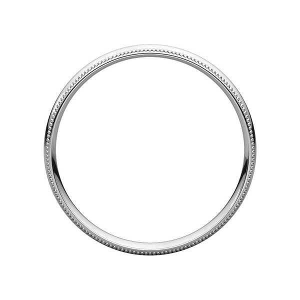 The Milgrain Dome Comfort Fit (3mm) in white gold side profile