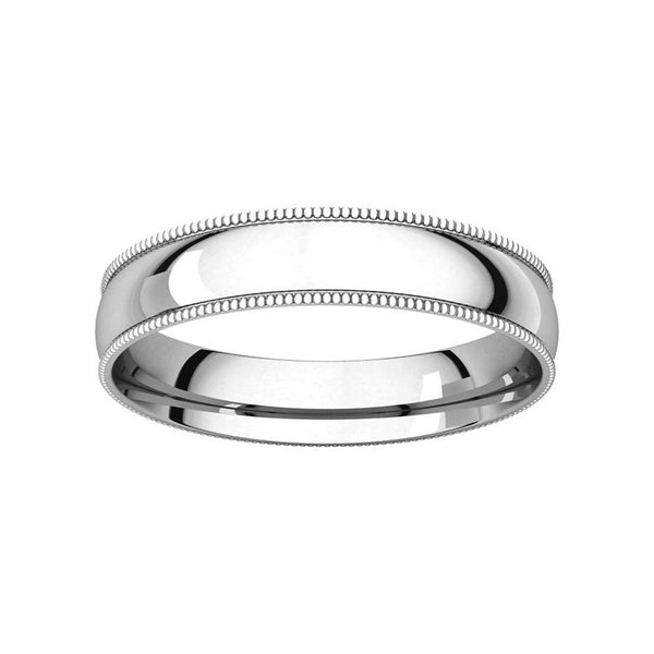 The Milgrain Dome Comfort Fit (4mm) in white gold