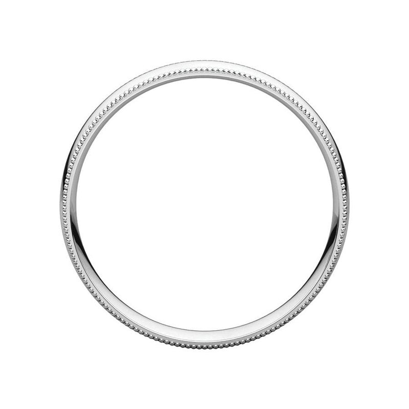 The Milgrain Dome Comfort Fit (4mm) in white gold side profile