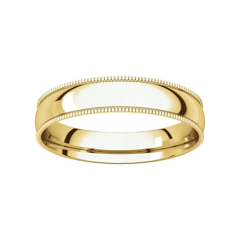 The Milgrain Dome Comfort Fit (4mm) in yellow gold