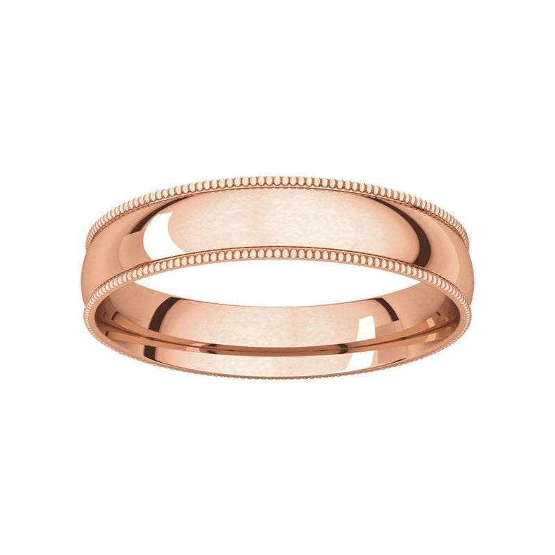 The Milgrain Dome Comfort Fit (4mm) in rose gold