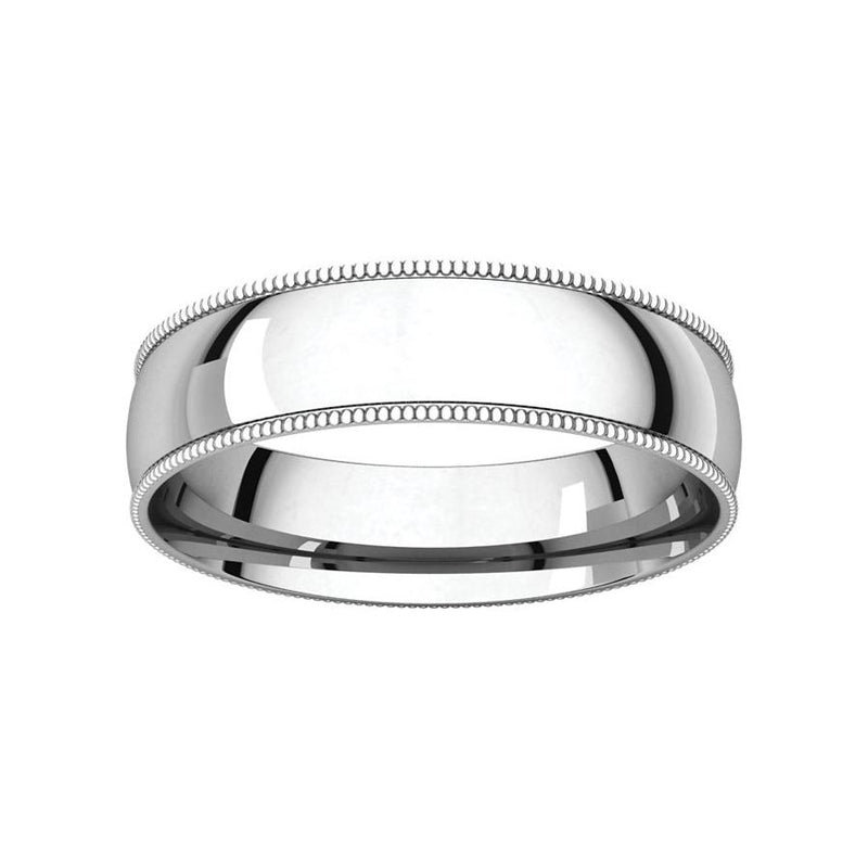 The Milgrain Dome Comfort Fit (5mm) in white gold
