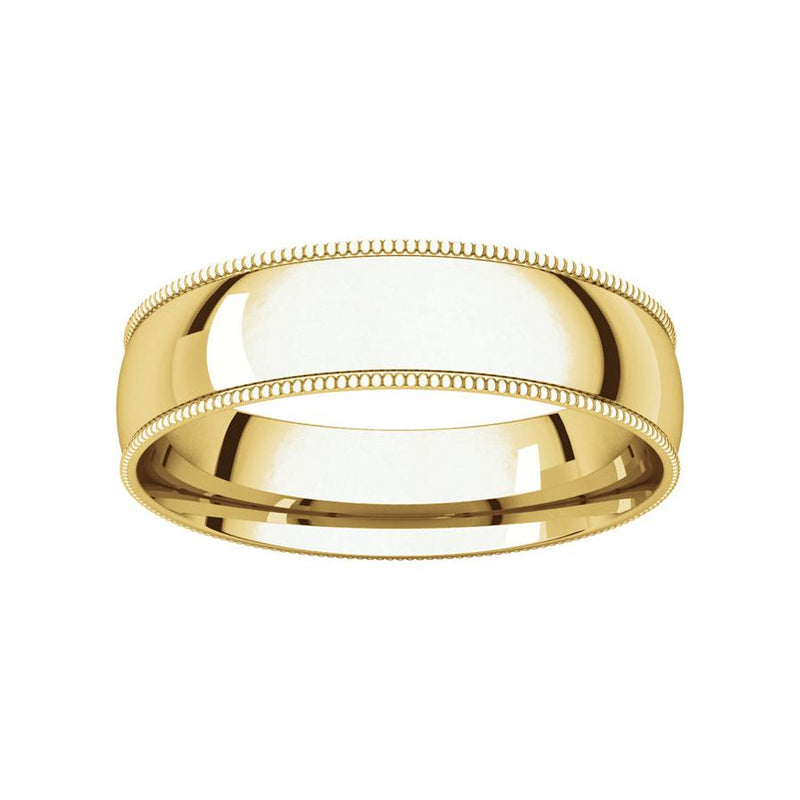 The Milgrain Dome Comfort Fit (5mm) in yellow gold