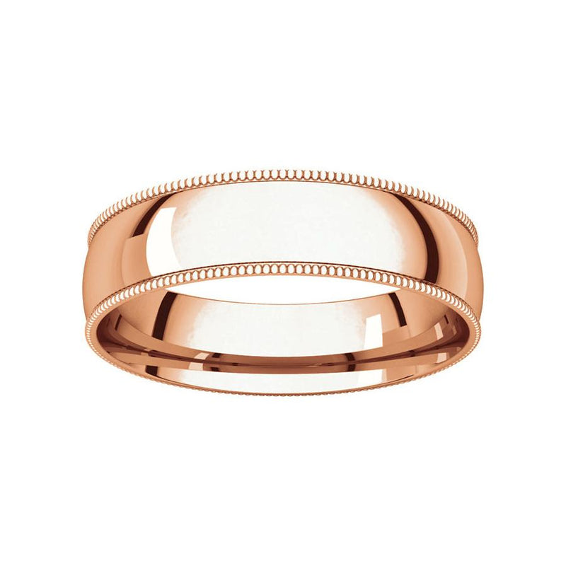 The Milgrain Dome Comfort Fit (5mm) in rose gold