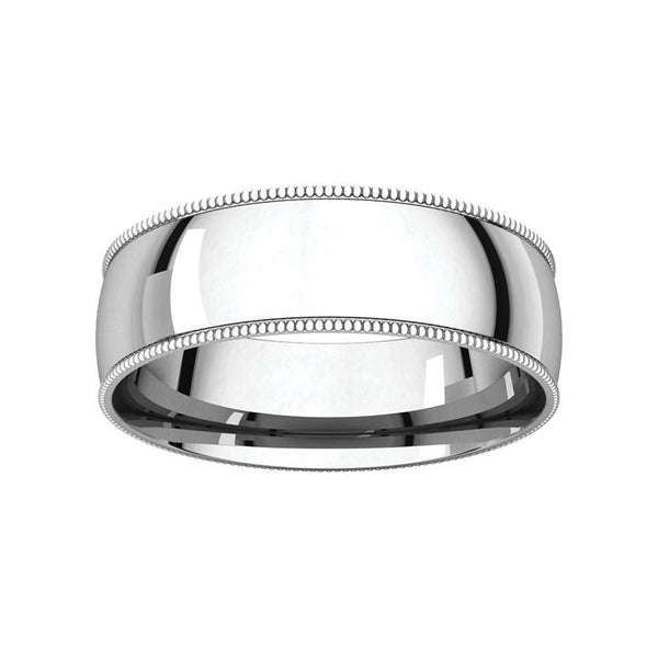 The Milgrain Dome Comfort Fit (6mm) in white gold