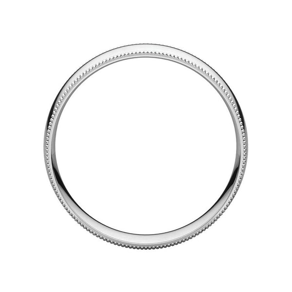 The Milgrain Dome Comfort Fit (6mm) in white gold side profile