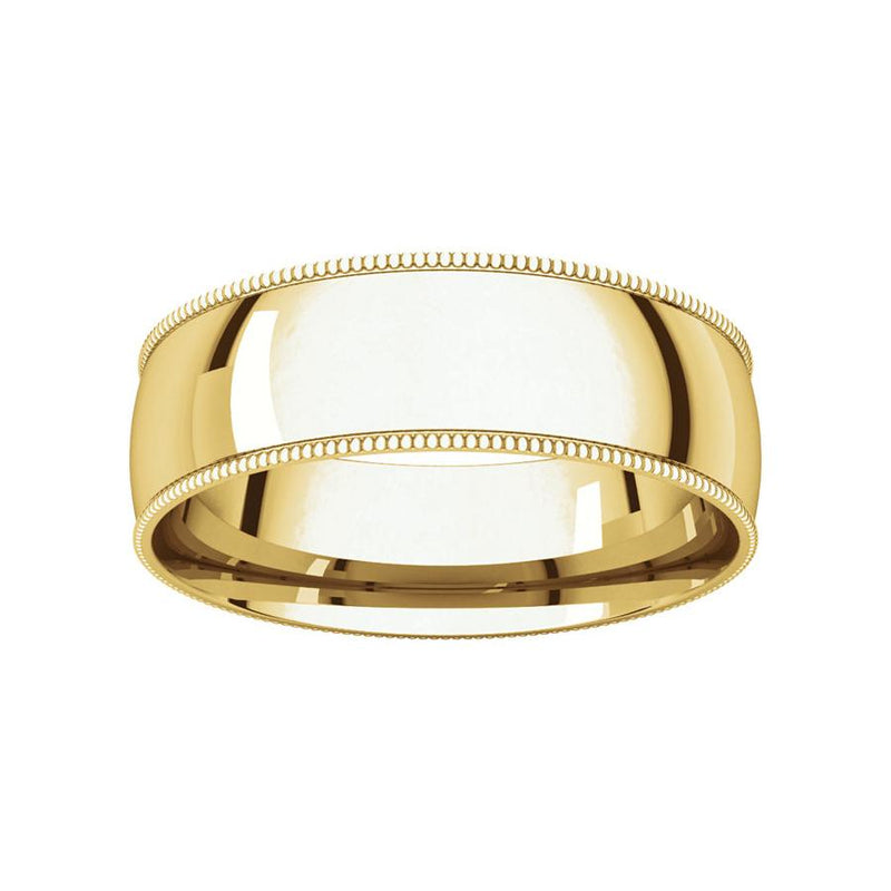 The Milgrain Dome Comfort Fit (6mm) in yellow gold