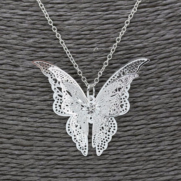 Woman's Butterfly Pendant Necklaces