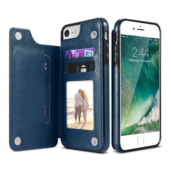 KISSCASE Retro PU Leather Case For iPhone X 6 6s 7 8 Plus 5S SE Multi Card Holders Case Cover For iPhone 8 7 6 6s Plus X Shells - Blue Leaf Outlet