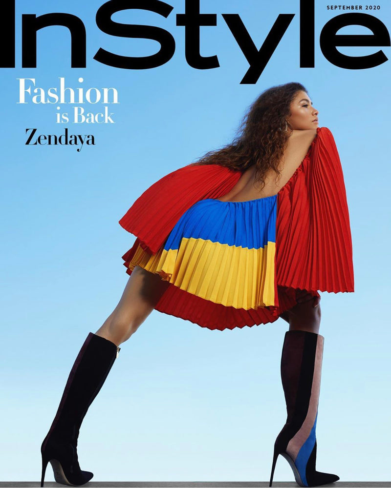 Zendaya in InStyle Magazine wearing Tori Soudan Greta Boots. Styled by Law Roach.