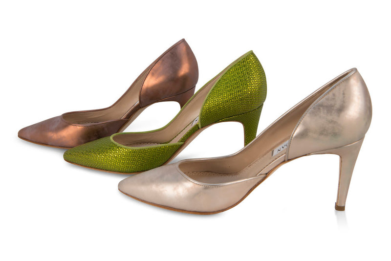 Rustic Copper Pumps next to the green and champagne colored versions of the same shoe