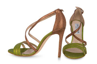 Bronze & Green strappy sandals