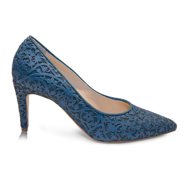 Blue pumps with laser design and Mid-Heel height