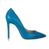 Metallic Blue Textured Pumps