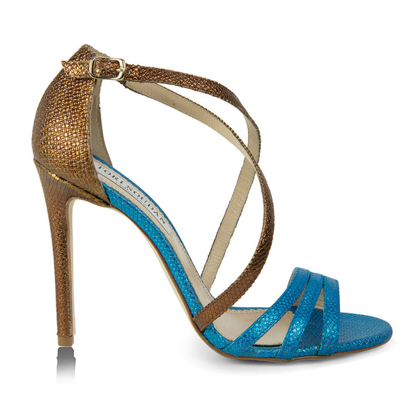 Bronze/Blue strappy sandals