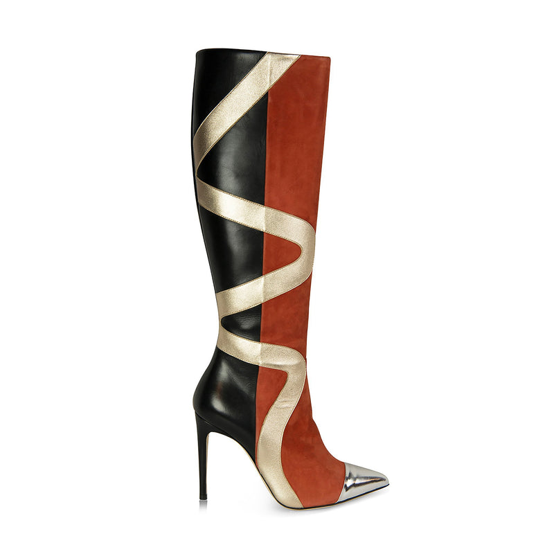 Orange and Black Knee High Boots With Silver Zig Zag Design on the Side