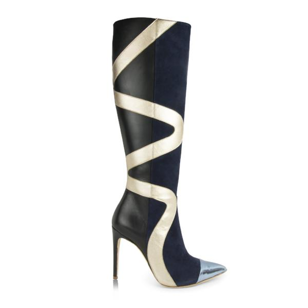 Navy Blue and Black Knee High Boots With Silver Zig Zag Design on the Side