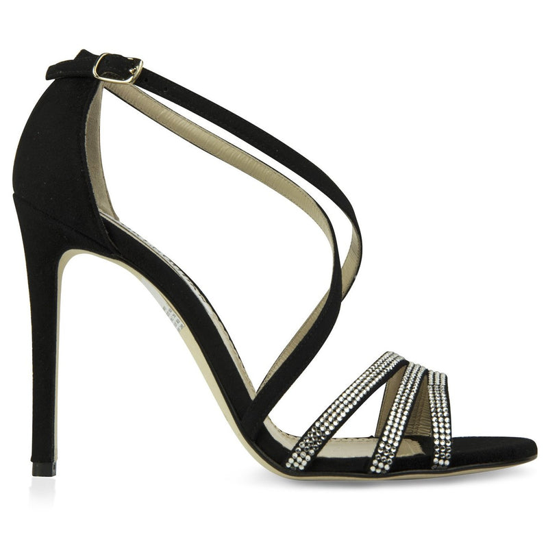 black strappy sandals whose sleek design & swarovksi crystal embellishment