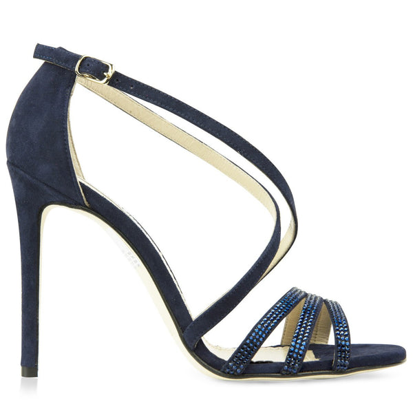 navy blue strappy sandals with swarovksi crystal embellishment