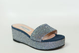 navy blue sandals with silver glitter detail