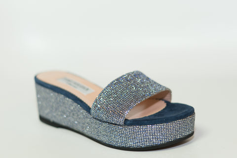 Tia - Navy and Silver Glitter, Shoes - Tori Soudan Collection