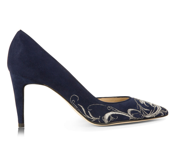 navy blue suede pumps with a unique embroidered design