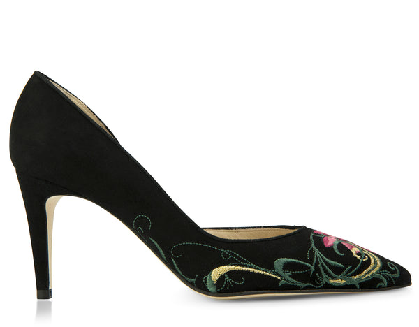 black suede pumps with a pink embroidered design
