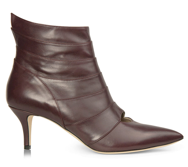 leather burgundy booties